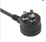 澳大利亚电源线(SAA电源线)三芯弯头背部带插座10A澳大利亚SAA认证规标准AC电源连接线猪尾部插头