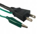 日本电源线 (PSE电源线) 日本PSE JET认证三芯15A直角外露接地线带鳄鱼夹JIS C8303标准AC电源连接线插头