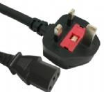 英国电源线 (UK电源) 带保险丝,注塑式大英插头,IEC 60320 C13 品子尾, 电脑插, BSI1363A,ASTA认证安规标准AC电源连接线