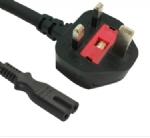 英国电源线 (UK电源) 带保险丝,注塑式大英插头,IEC 60320 C7八字尾插座电源线, 定制长度,BSI1363A,ASTA认证