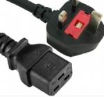 英国电源线 (UK电源) 带保险丝,注塑式大英插头,IEC 60320 C19母插,服务器,数据库,PDU电源线, BSI1363A,ASTA安规认证