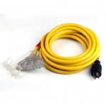 美国延长线转换延长线,L14-30P自锁插头,20安NEMA 5-20R插座透明带灯,定制电源线长度,美国UL,加拿大cUL认证