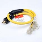 美国延长线转换延长线,L14-30P自锁插头,Y形一转二,两孔20安NEMA 5-20R插座,透明带头带LED工作指示灯,定制电源线长度,美国UL,加拿大cUL认证