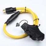 美国延长线转换延长线,L14-30P自锁插头,Y形分支器,15安NEMA 5-15R插座,6孔,定制电源线长度,美国UL,加拿大cUL认证