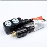 美国延长线转换延长线,L14-30P四芯自锁插头,20A四孔插座,定制电源线长度,美国UL,加拿大cUL认证