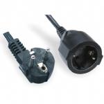 欧洲延长线,德国烟斗弯头插,德式插座安规标准AC电源延长线, Schuko延长线CEE7/7CE GS认证,德式延长线